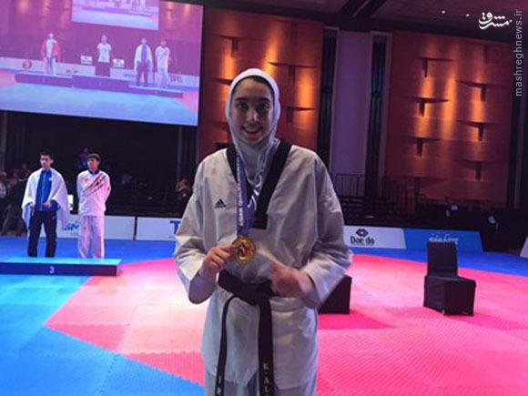 کیمیا علیزاده مدالش را به شهدای مدافع حرم تقدیم کرد