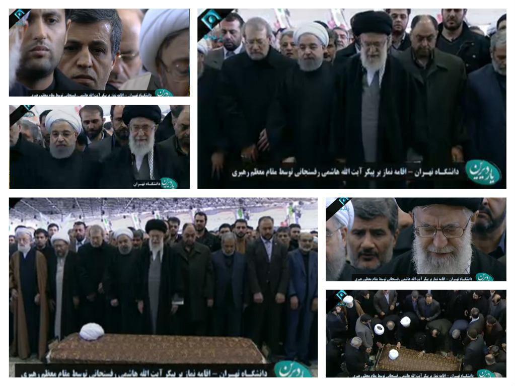 حضور رهبرانقلاب در دانشگاه تهران برای اقامه نماز بر پیکر آیتالله هاشمی/ آغاز مراسم تشییع/ اولین تصاویر از حضور گسترده مردم