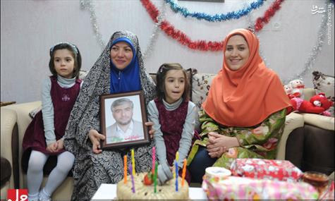 جشن تولد دختر شهید مدافع حرم با حضور خاله سارا