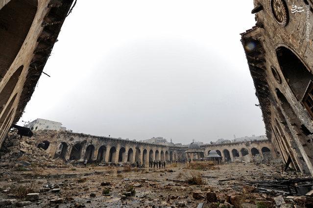 عکس/ مسجد اموی حلب، قبل و بعد از جنگ