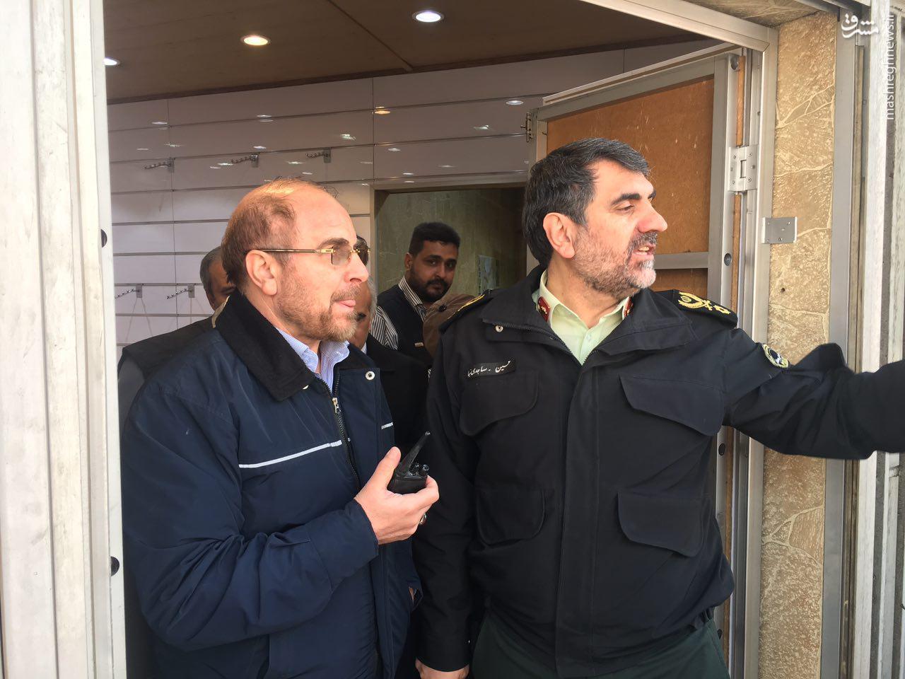 عکس/ حضور قالیباف در محل حادثه ساختمان پلاسکو