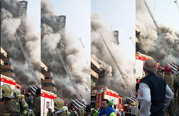 ساختمان پلاسکو فرو ریخت/ مصدومیت 38 نفر و محبوس شدن شمار بسیاری از آتش نشانان/ مردم از اطراف پلاسکو دور شوند +تصاویر و فیلم