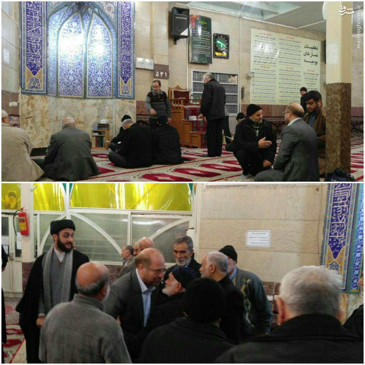 اقامه نماز صبح دکتر قالیباف در مسجد صاحبالزمان محله ولی عصر(عج) در منطقه