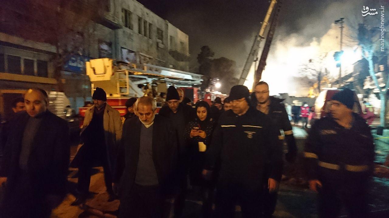 عکس/دادستان تهران و قالیباف در محل حادثه پلاسکو