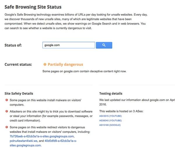 گوگل وبسایت Google.com را خطرناک میداند