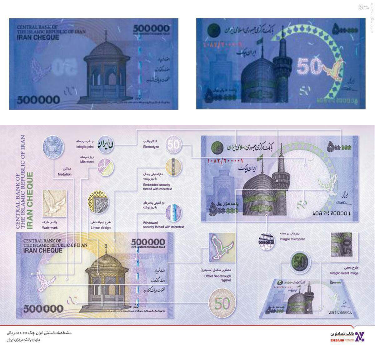 عکس/ نکات امنیتی چک پول ۵٠ هزار تومانی