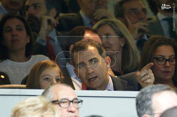 عکس/ شاه اسپانیا و دخترش در دیدار رئال و من سیتی