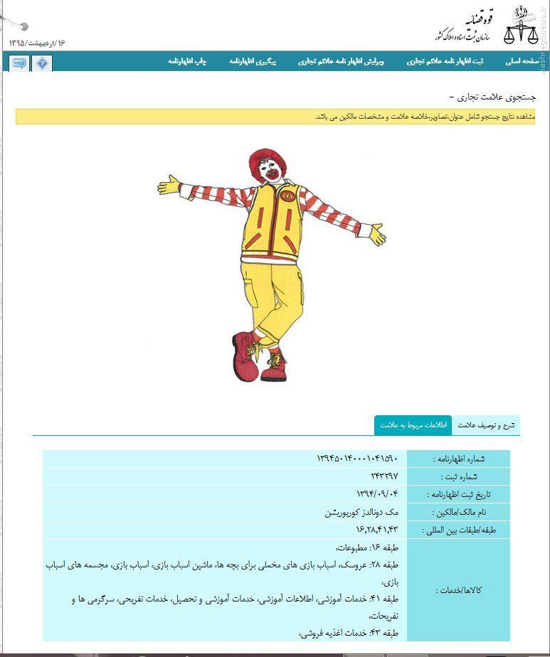 «دلقک مک دونالد» در ایران به ثبت رسید