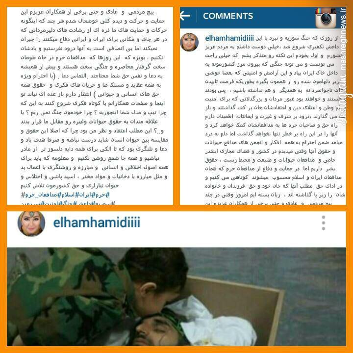 دفاع جانانه الهام حمیدی از مدافعان حرم +عکس