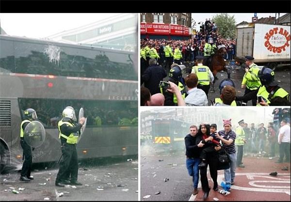 حمله به اتوبوس منچستر بازی این تیم را به تعویق انداخت +عکس