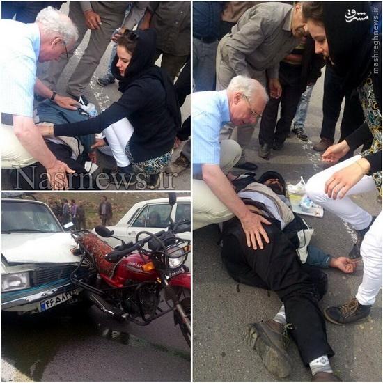 عکس/ مداوای مصدوم تبریزی توسط توریست هلندی