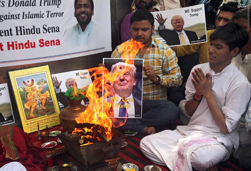 عکس/ حامیان هندی ترامپ