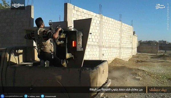 جنگ داخلی تروریستها در غوطه دمشق+عکس