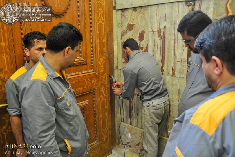 تعمیر درب پنجاه ساله حرم حضرت علی(ع) +عکس