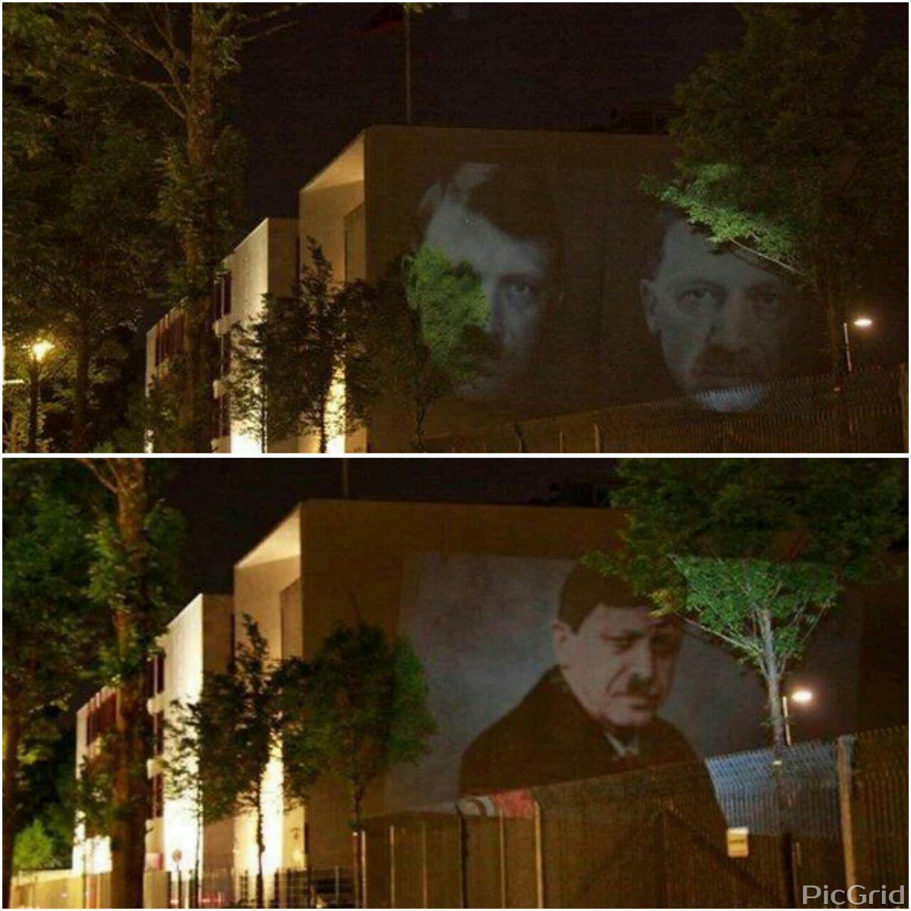 عکس/ تصویر اردوغان و هیتلر روی دیوار سفارت ترکیه در آلمان