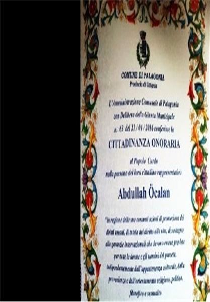 اعطای نشان شهروند افتخاری ایتالیا به رهبر «پ.ک.ک»