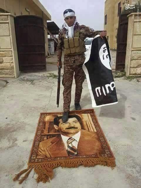 عکس/ تابلو فرش صدام در مقر داعشیها