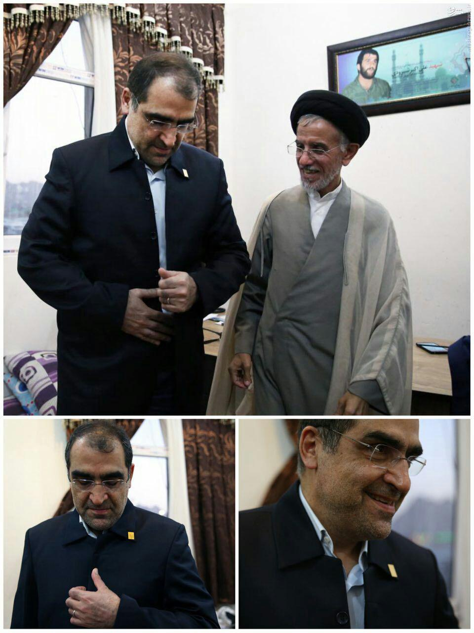 عکس/ وزير بهداشت با لباس خادمي مسجد جمكران