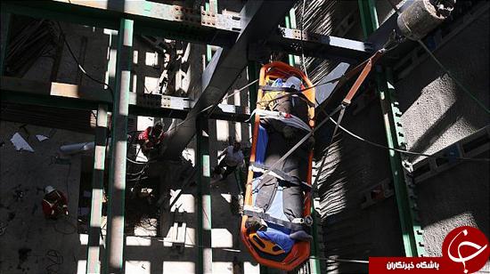 سقوط کارگر ساختمانی از ساختمان نیمهکاره +تصاویر