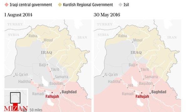 مقایسه مناطق تحت اشغال داعش در عراق بین سالهای 2014 و 2016 +نقشه