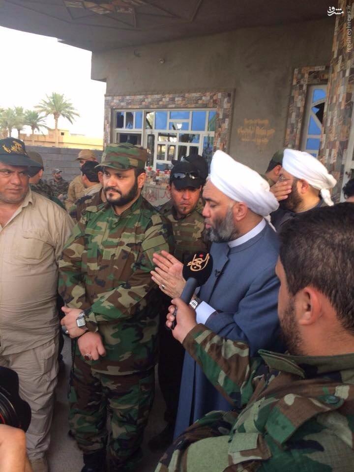 حضور مفتی اعظم اهل سنت عراق در میان رزمندگان حشدالشعبی+عکس
