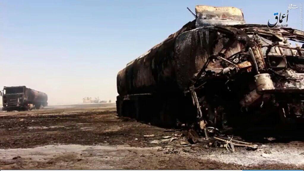 انهدام کاروان نفت داعش در رقه+عکس