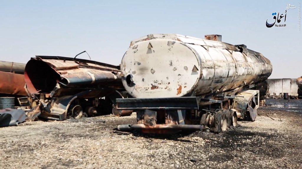 بمباران تانکر های ترکیه بمباران هوایی بازار نفت فروشی داعش+عکس