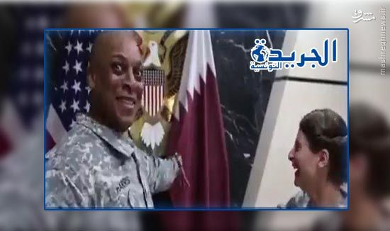 تمسخر پرچم شیخ نشین قطر توسط نظامیان آمریکایی+عکس
