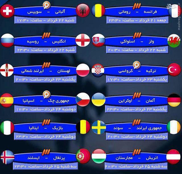 عکس/ ساعت پخش دور اول مرحله گروهی یورو 2016