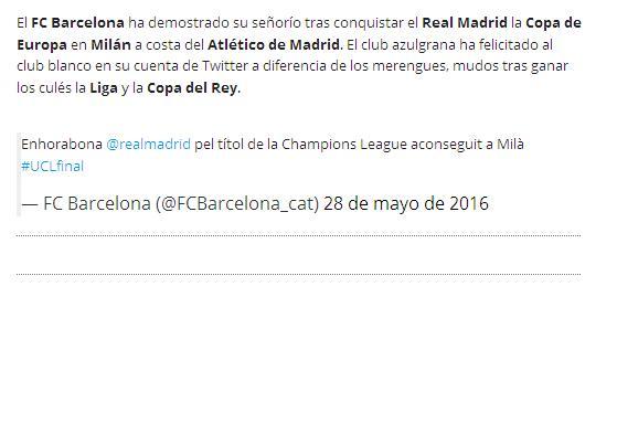 عکس/ تبریک رسمی باشگاه بارسلونا به رئال مادرید