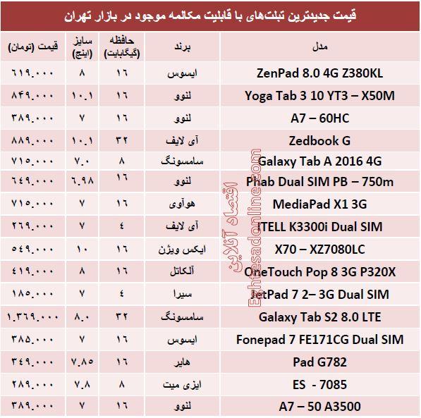 قیمت تبلتهای جدید با قابلیت مکالمه +جدول
