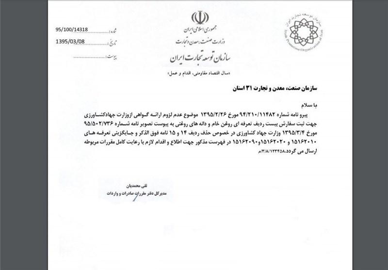 واردات «روغن پالم» مشروط به اخذ مجوز شد +اسناد