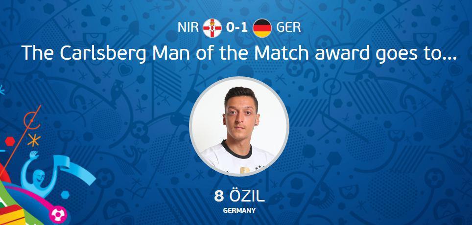 عکس/ بهترین بازیکن دیدار آلمان مقابل ایرلندشمالی