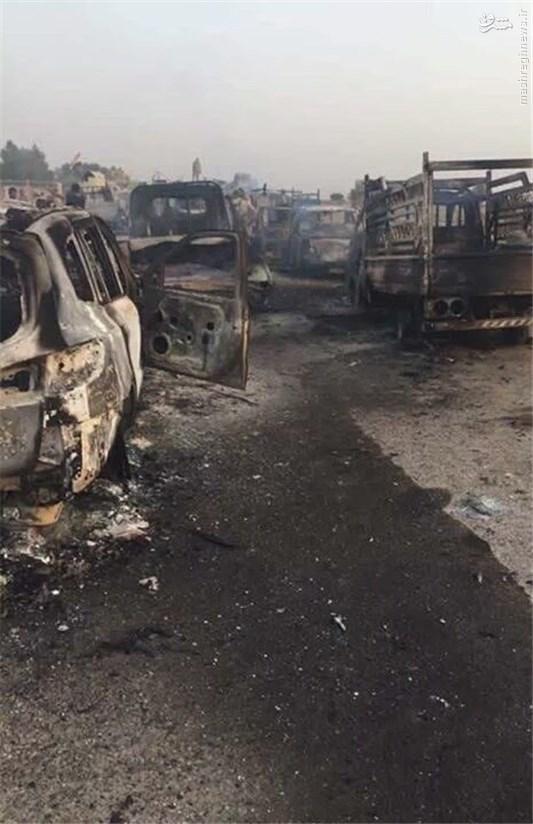 تصاویر نابودی صدها خودروی داعش در عراق