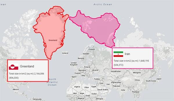 با این وبسایت اندازه واقعی کشورها را با یکدیگر مقایسه کنید