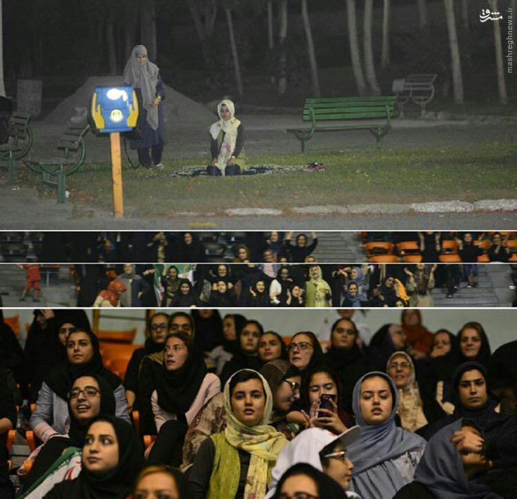 نماز خواندن تماشاگران خانم پس از بازی والیبال ایران