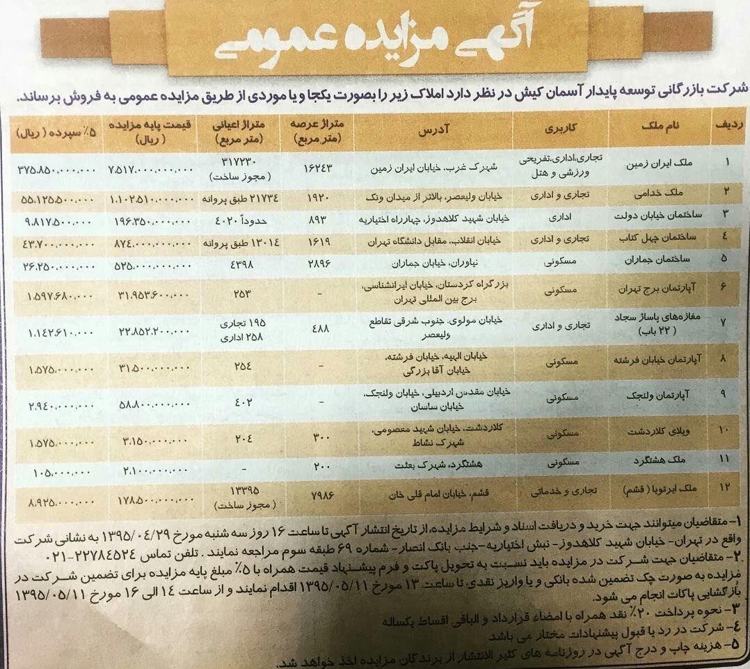 اموال بابک زنجانی دوباره به مزایده گذاشته شد+ عکس