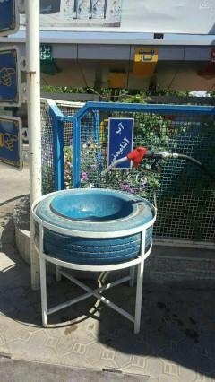 عکس/ خلاقیت در آبخوری پمپ بنزین