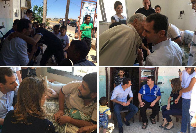 عکس/ دیدار صمیمانه بشار اسد و همسرش با مجروحان جنگی