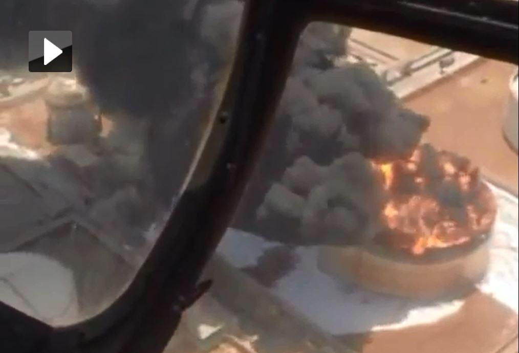 فیلمبرداری هوایی از آتش سوزی مخزن پتروشیمی بوعلی ماهشهر