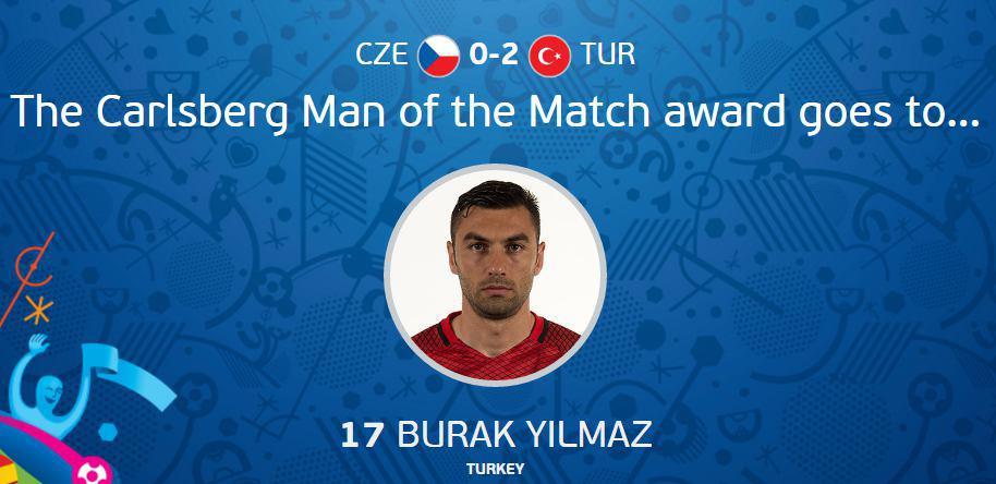 عکس/ بهترین بازیکن دیدار ترکیه و جمهوری چک