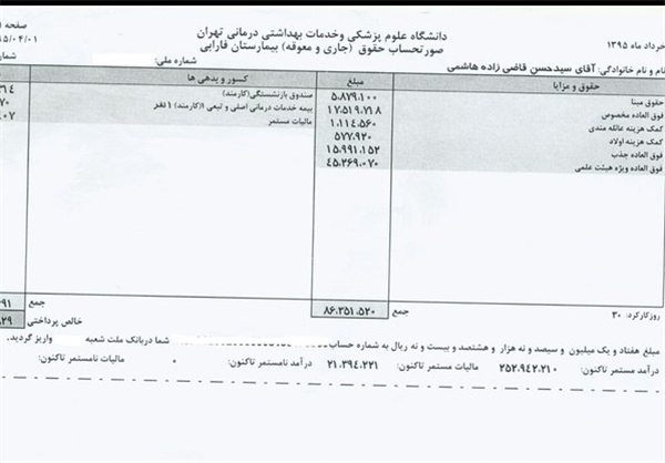 فیبش حقوقی وزیر بهداشت منتشر شد+سند
