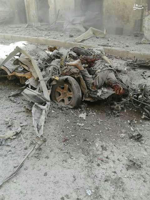 انهدام دومین خودروی فرماندهان القاعده در شمال حلب+عکس