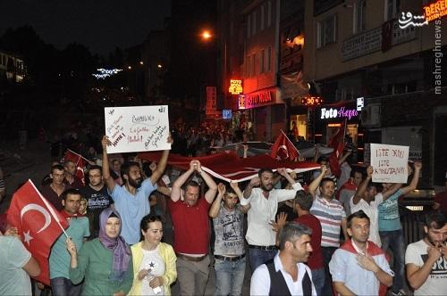 ادامه تظاهرات مردم ترکیه در حمایت از اردوغان+عکس
