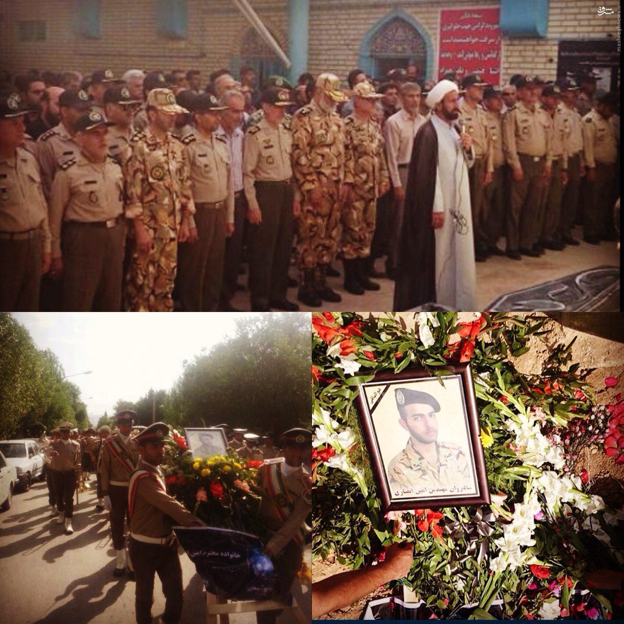 عکس/ تشییع پیکر امین انصاری از جان باختگان حادثه اتوبوس سربازان