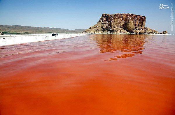 عکس/ قرمز شدن آب دریاچه ارومیه