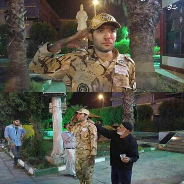 عکس/ ادای احترام جالب سرباز نجات یافته به دوستانش