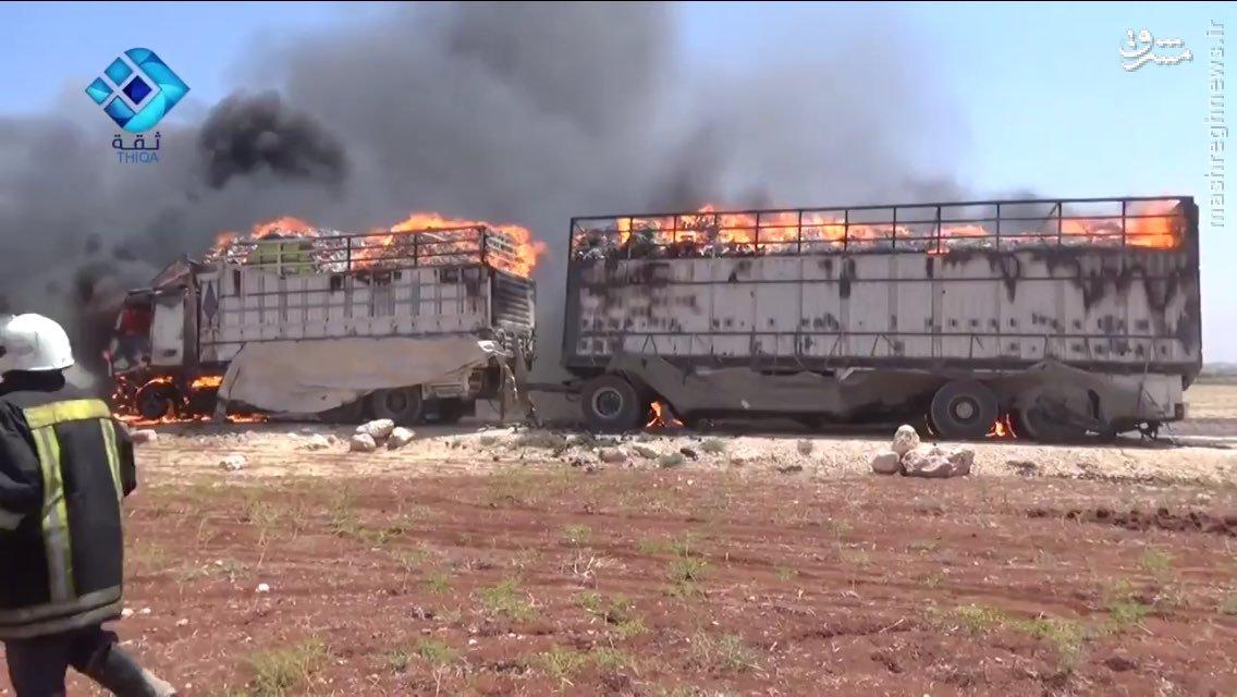 انهدام چهارمین کاروان تدارکاتی تروریستها در شمال حلب+فیلم و عکس