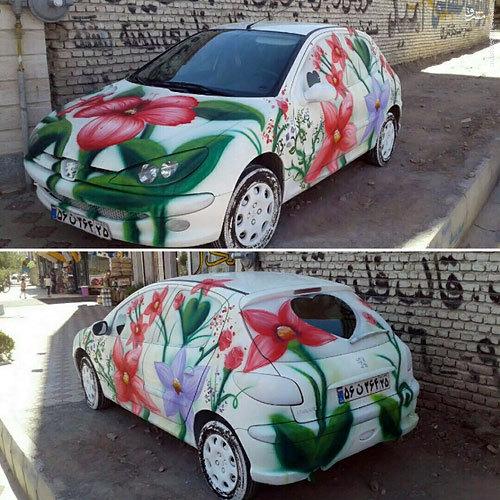 عکس/ تزئین هنرمندانه ماشین عروس در شبستر