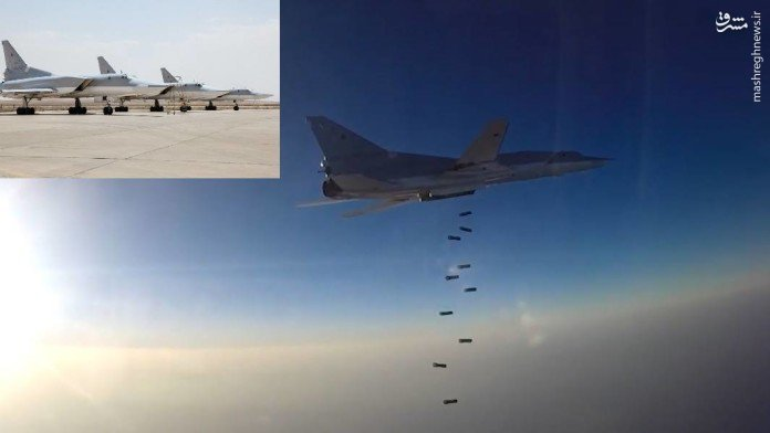 نخستین حملات بمب افکن های روسی مستقر در پایگاه همدان+فیلم و عکس